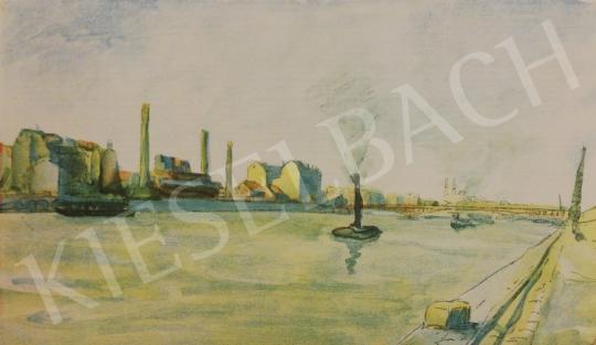 Eladó Vass Elemér - Dunapart gőzhajóval festménye