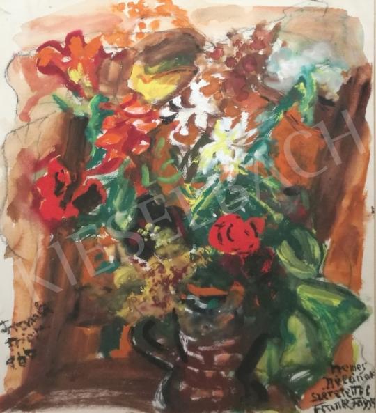 Eladó  Frank Frigyes - Piros virágcsendélet festménye