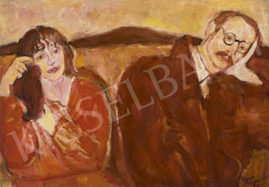 Eladó  Frank Frigyes - Ketten (Önarckép haját fésülő Mimivel), 1935 festménye