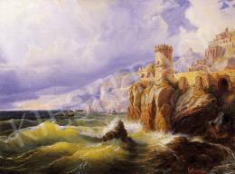 Agricola, Eduard - Italian Seashore with a Castle