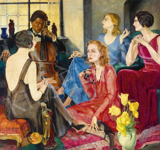 Eladó Bardócz Árpád - Szalonban (Házi koncert, gordonka), 1931 festménye