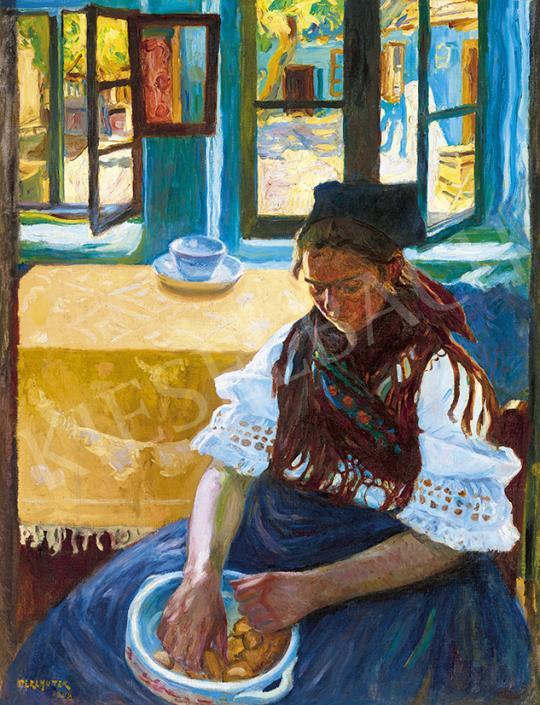 Eladó  Perlmutter Izsák - Kilátás a napsütéses udvarra, 1908 festménye