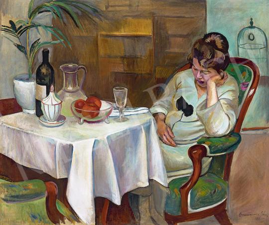 Eladó  Bornemisza Géza - Enteriőr gyümölcscsendélettel és madárkalitkával, 1919 festménye