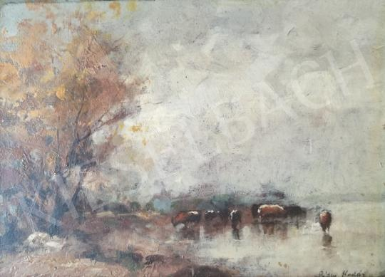 For sale  Páldy, Aladár - Cows on the waterfront 's painting