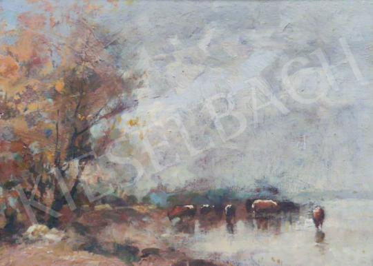 Eladó  Páldy Aladár - Tehenek a vízparton festménye