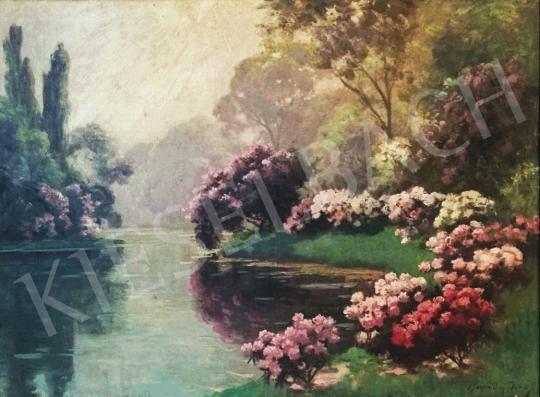 Eladó  Kárpáthy Jenő - Nyári virágok a folyóparton festménye