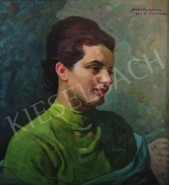 Gábor Móric - Hölgy almazöld ruhában (Lili), 1962 festménye