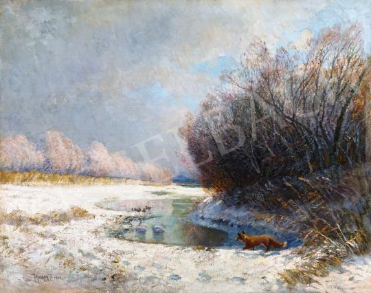 Eladó Ujváry Ignác - Téli patakpart, 1906 festménye