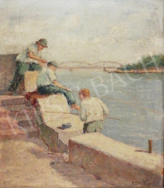 Eladó Guzsik Ödön - Horgászó fiúk a szegedi rakparton festménye
