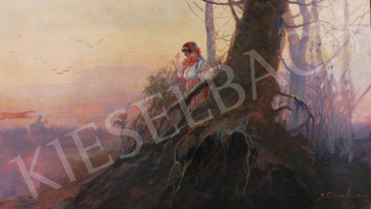 Eladó  Ismeretlen magyar festő, 1910 körül - Népviseletes magyar lány a hajnali ködös tájban festménye