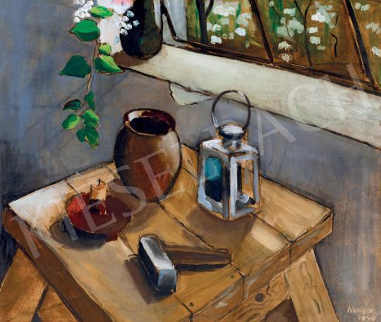 Eladó  Illés Árpád - Műtermi csendélet virágokkal és mintázóállvánnyal (Borsos Miklós műterme), 1940 festménye