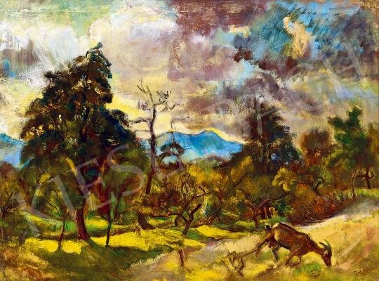 Eladó  Pirk János - Nagybányai táj (Felhők mögül kiragyogó nap) festménye