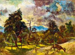 Pirk János - Nagybányai táj (Felhők mögül kiragyogó nap)
