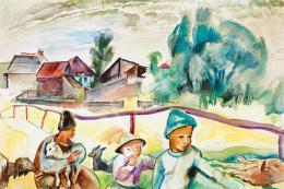 Zsögödi Nagy Imre - Gyerekek báránnyal (Erdélyi falu), 1937