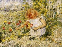 Csikós, Miklós - Little Girl Gathering Flowers