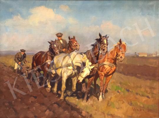 Viski János - Tavasz (Szántás) festménye