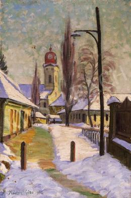 Kádár Géza - Téli utca templommal