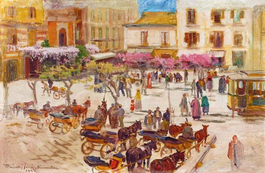 Eladó  Kárpáthy Jenő - Olasz kisváros várakozó konflisokkal (Sorrento), 1934 festménye