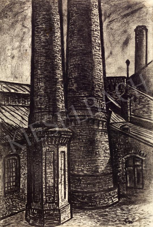 Eladó Bán Béla - Gyár (Kémények), 1940 körül festménye