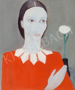 Vaszkó, Ödön - Woman in Red Dress with Flower, c. 1930