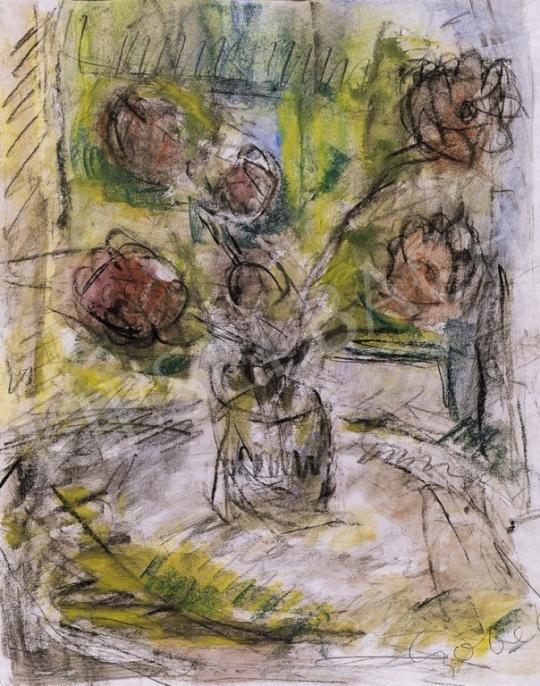 Czóbel Béla - Csendélet ablak előtt virággal | 6. Aukció aukció / 40 tétel