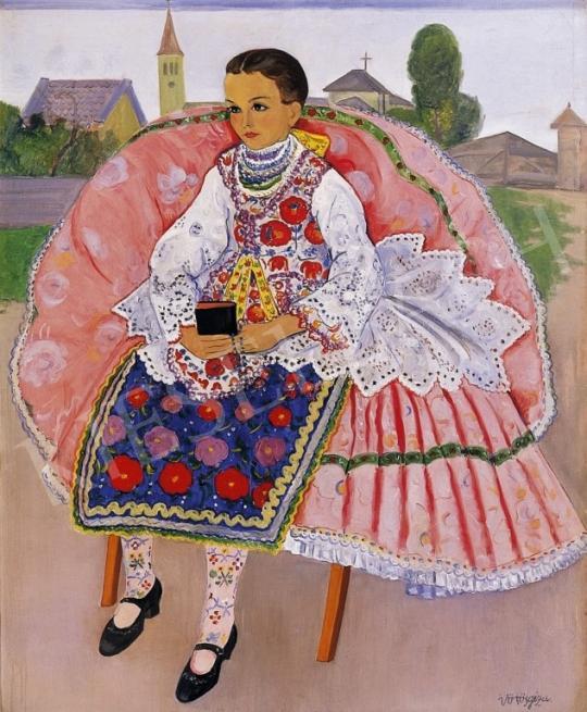 Vörös Géza - Kislány népviseletben | 6. Aukció aukció / 44 tétel