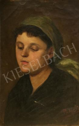 Bodor, Ida - Portrait of a Girl in Green Headscarf