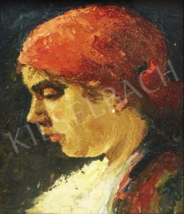 Georgescu, Marin H. - Female Portrait with Headscarf, 1917
