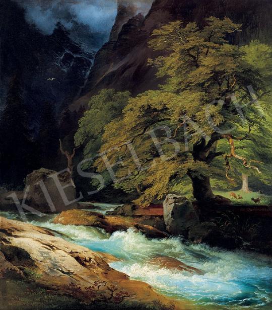 Eladó Fischbach, Johann Heinrich - Áradó patak, 1844 festménye