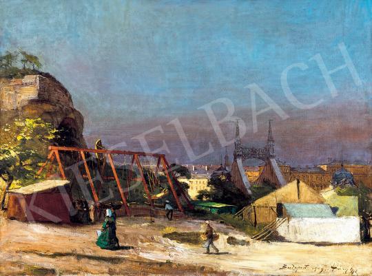 Eladó  Háry Gyula - Vurstli a Gellérthegyen háttérben a Szabadság híddal, 1909 festménye