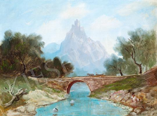 For sale  Molnár C., Pál - Romantic Landscape with a Stone Bridge 's painting