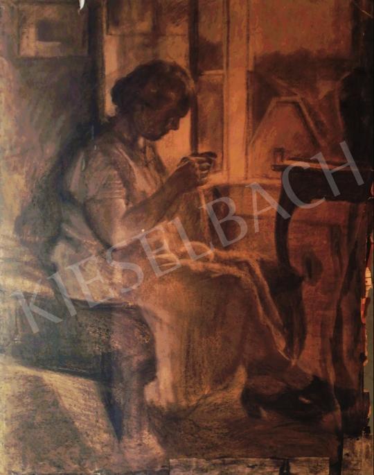 Eladó Ismeretlen magyar festő - A kézimunka festménye