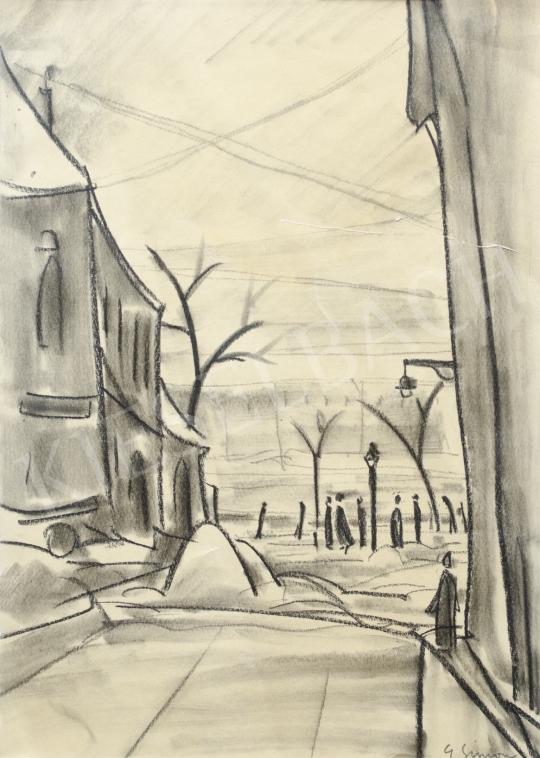 Eladó  Simon György János - Téli városrészlet járókelőkkel festménye