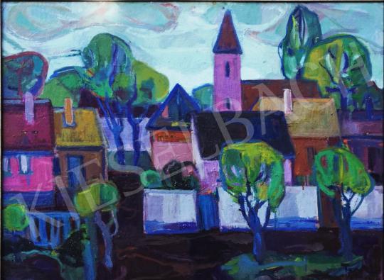 Eladó Farkas Lídia - Falusi látkép a templomtérrel festménye