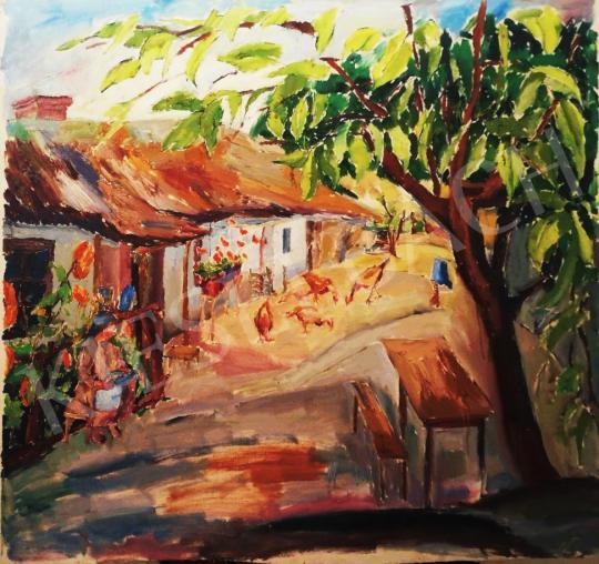 Eladó  Sárpataky László - Napfényes udvar festménye