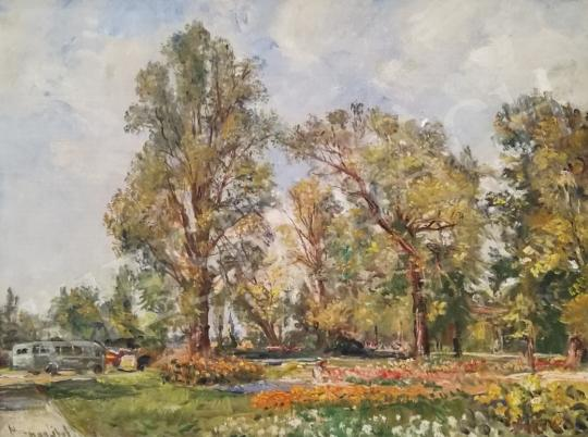 Eladó  Herman Lipót - Napfényes impresszionista park festménye