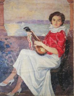 Unknown painter - Girl with Mandolin