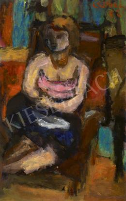 Czóbel, Béla - Girl Sitting in an Armchair (The Blue Skirt), 1952