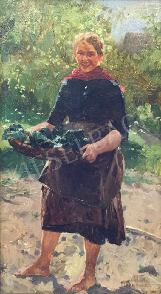 Eladó  Magyar Mannheimer Gusztáv - Saláta szedés festménye
