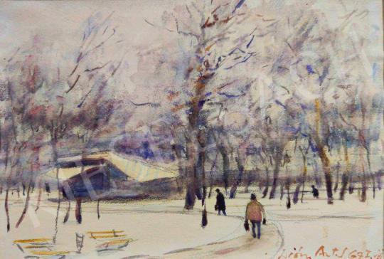 Eladó Diósy Antal - Városliget télen festménye