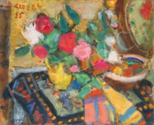 Czóbel Béla - Csendélet színes virágokkal, 1955 festménye