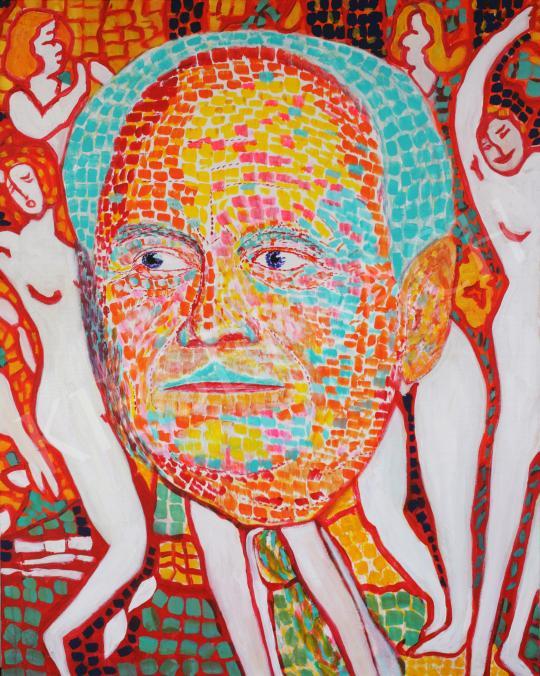 Eladó  drMáriás - Göncz Árpád Rippl-Rónai műtermében, 2016 festménye