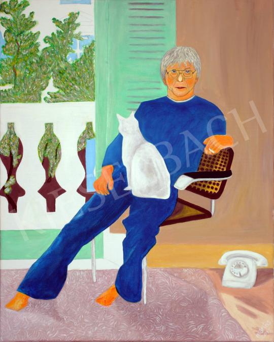 For sale  drMáriás - András Pándy with Cat in David Hockney's Atelier, 2015 's painting
