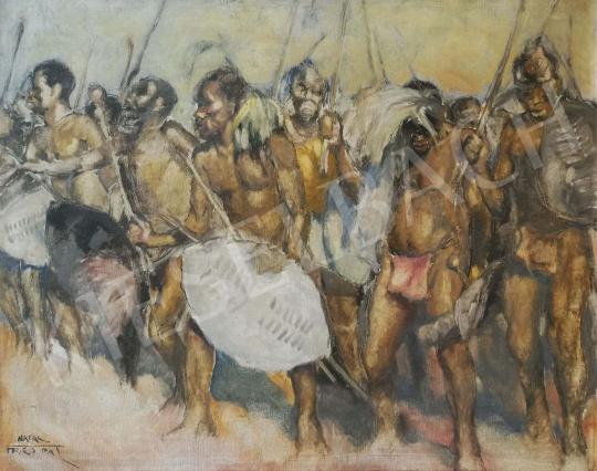 Eladó  Fried Pál - Bennszülött harcosok festménye