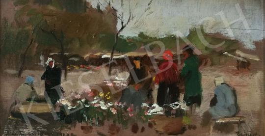 Eladó  Csallóközi Farkas Lőrinc - Újpesti virágpiac, 1923 festménye