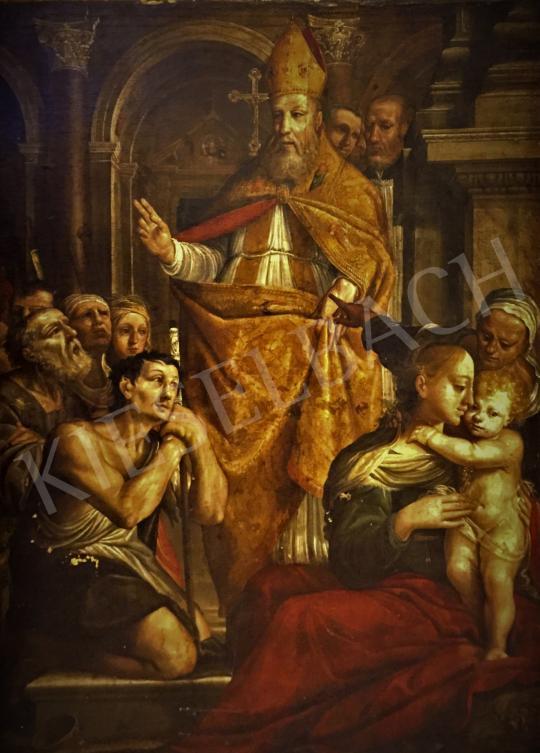 Ismeretlen lombardiai festő, 17. század - Zarándokoknak áldást osztó püspök festménye