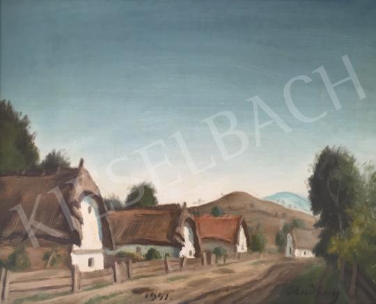 Eladó  Rudnay Gyula - Magyar táj, késő délutáni utca, 1941 festménye