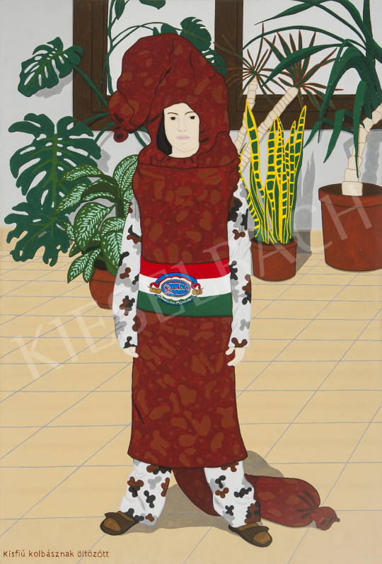 Eladó  Hecker Péter - Kisfiú kolbásznak öltözött, 2014 festménye