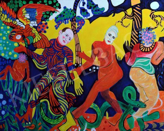 drMáriás - Győrfi Pál megtanítja az alapos kézmosás fortélyaira Lady Gagát, majd táncra perdül vele... festménye