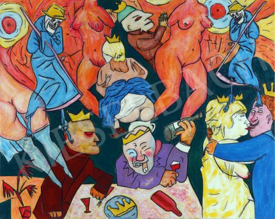 drMáriás - Karantén-buli koronajárvány idején George Grosz műtermében, 2020 festménye